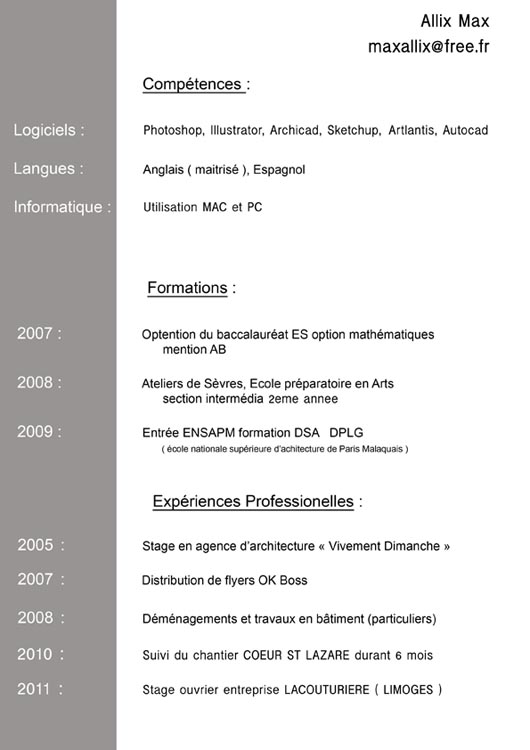example resume  exemple cv etudiant architecture