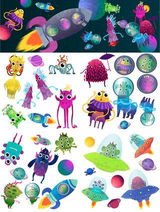 Monstres de l'espace stickers