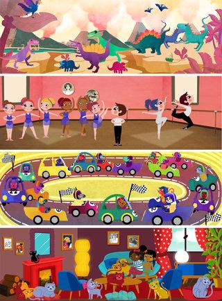 Bolides, Danses, Dinosaure, Chiens et chat