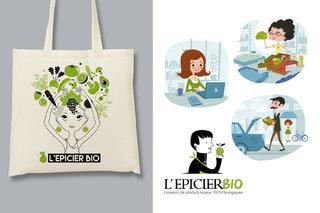 Création logo + tote bag + visuels flyer pour une boutique d'alimentation bio