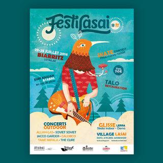 """Projet d'affiche pour le """"Festilasai"""" (festival musical) de Biarritz"""