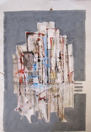 Abstrait huile, acrylique, encre sur papier