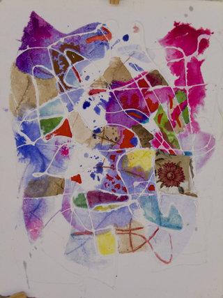 Abstrait, acrylique, tissu et encre sur papier