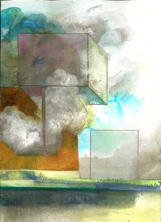 Cube n°2, acrylique  et encre sur papier