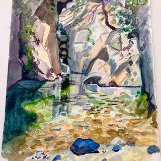 Rivière d'Ardèche, aquarelle sur papier