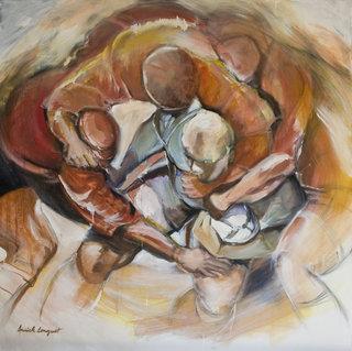 Rugby mélée, huile sur toile