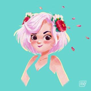 Jeune fille aux cheveux roses