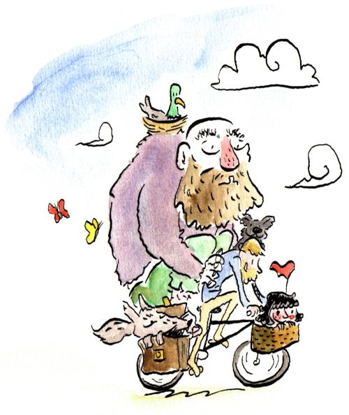 dessin à l'encre et aquarelle d'un cycliste portant un géant, un loup et une fillette sur son vélo