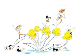 Les fleurs deviennent des trampolines.