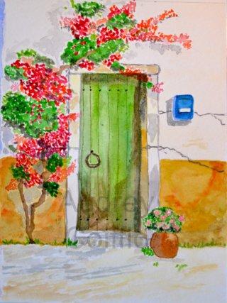Aquarelle_green_door