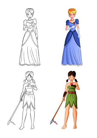 Illustrations princesses pour coloriages 2012