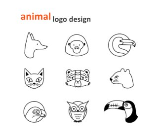 animal logo design noir et blanc