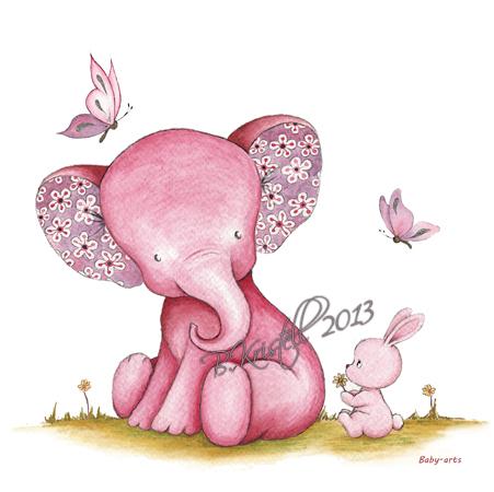 l'Eléphant et le lapin rose
