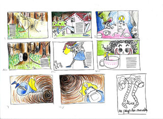 Croquis illustration et mise en page Alice / Sketch and layout for Alice