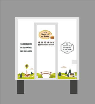 """Covering du foodtruck """"Les Burgers de Sophie"""" - Face arrière"""