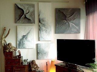 """Série """"En mouvement"""" - filasse, plâtre et acrylique"""