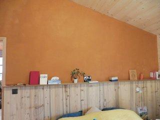 patine pigment ocre abricot sur peinture à l'argile