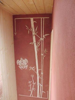 """sgraffitos en trois couches """"Bambou"""""""