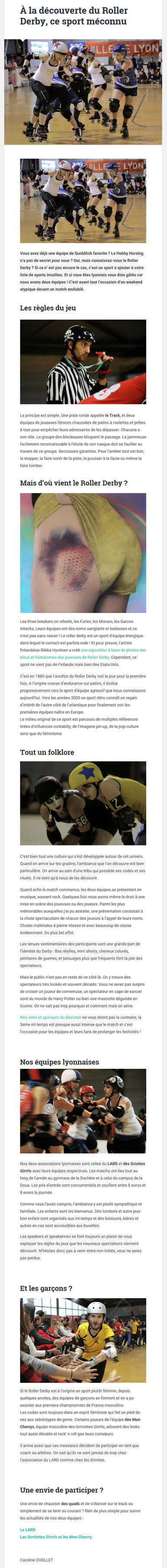 Article sportif optimisé pour le web