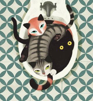 Tre gatte nel bidet.jpg