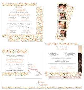 Faire-part mariage (coupon réponse / plan / bandeau décoratif / Photo Booth)