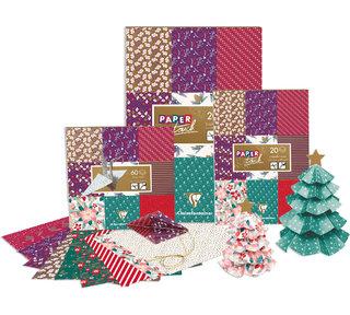 Bloc de papiers et origami - création de certains motifs sur un thème Noël et réalisation des encarts/intérieurs des produits