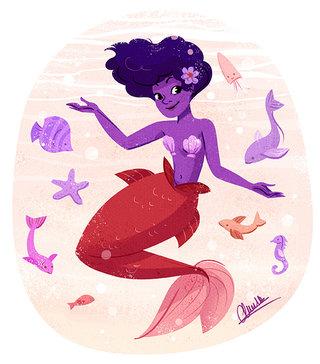 Sirène et ses amis - Illustration personnelle