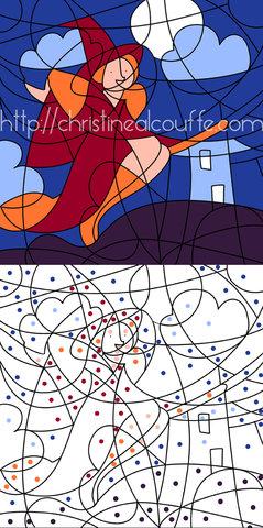 Coloriage magique - Illustration personnelle