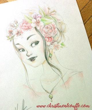 Fille à la couronne de fleurs - Dessin personnel