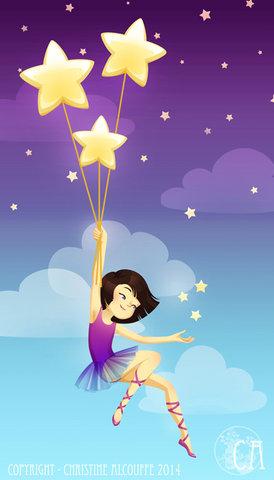 Fille aux étoiles - Illustration personnelle