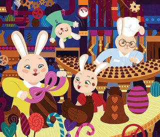 La famille lapin vous souhaite de joyeuses Pâques ! - Illustration personnelle