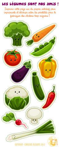 Les légumes sont nos amis ! - Stickers - Illustration personnelle