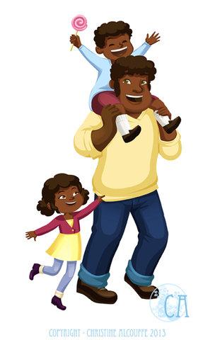 Promenade en famille - Illustration personnelle