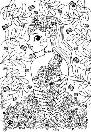 Coloriage fée en fleur