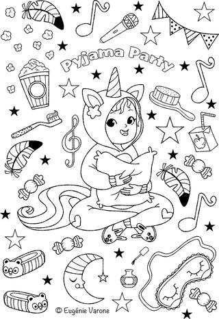 Coloriage Pyjama party