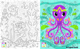 Coloriage Mystère Vice et Versa Pieuvre