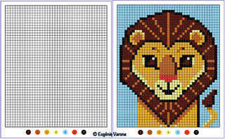 Coloriage Pixels Lion
