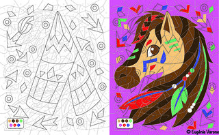 Coloriage Mystère Vice et Versa Cheval