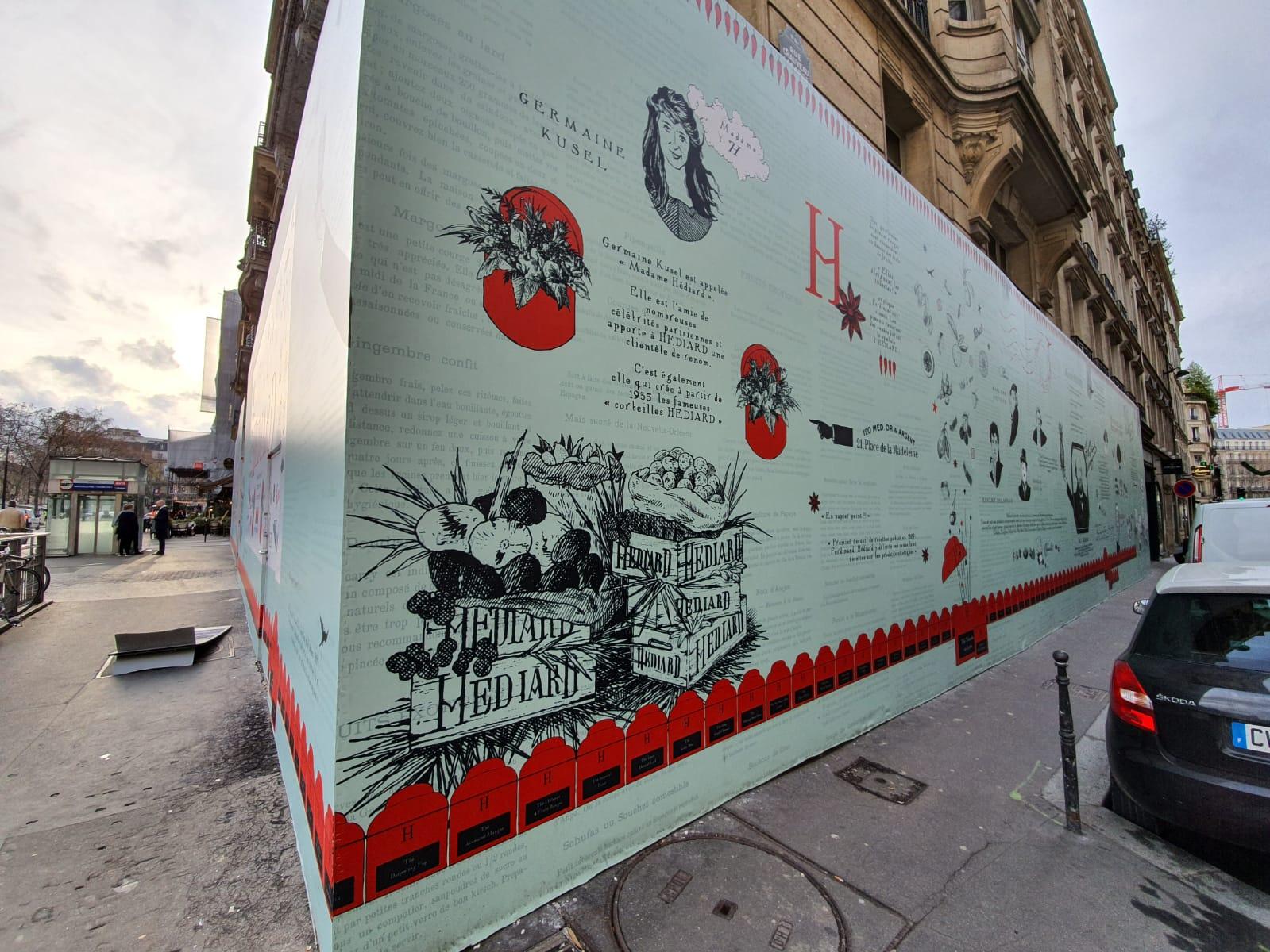 Réalisation de la bâche de chantier Hédiard en collaboration avec l'illustratrice Gail Gosschalk