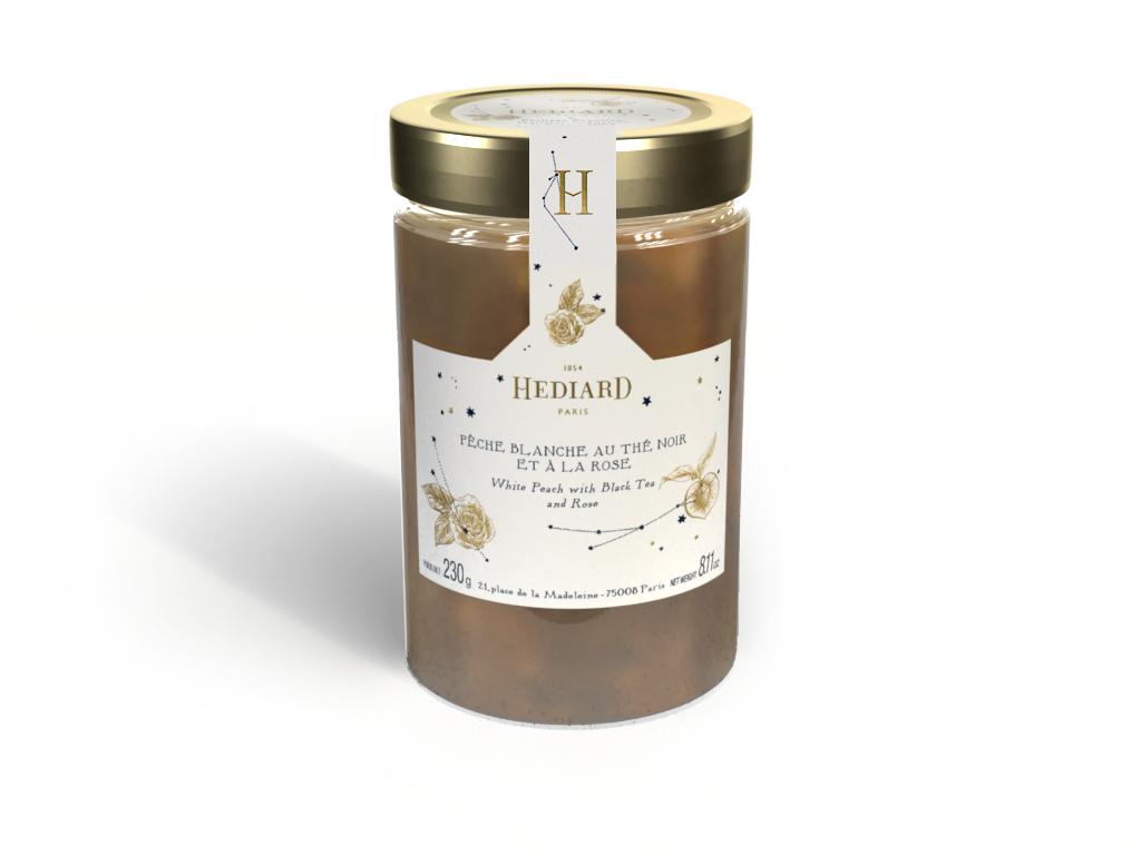 Prévisualisation 3D d'une étiquette sur pot de confiture Hédiard collection Noël 2019