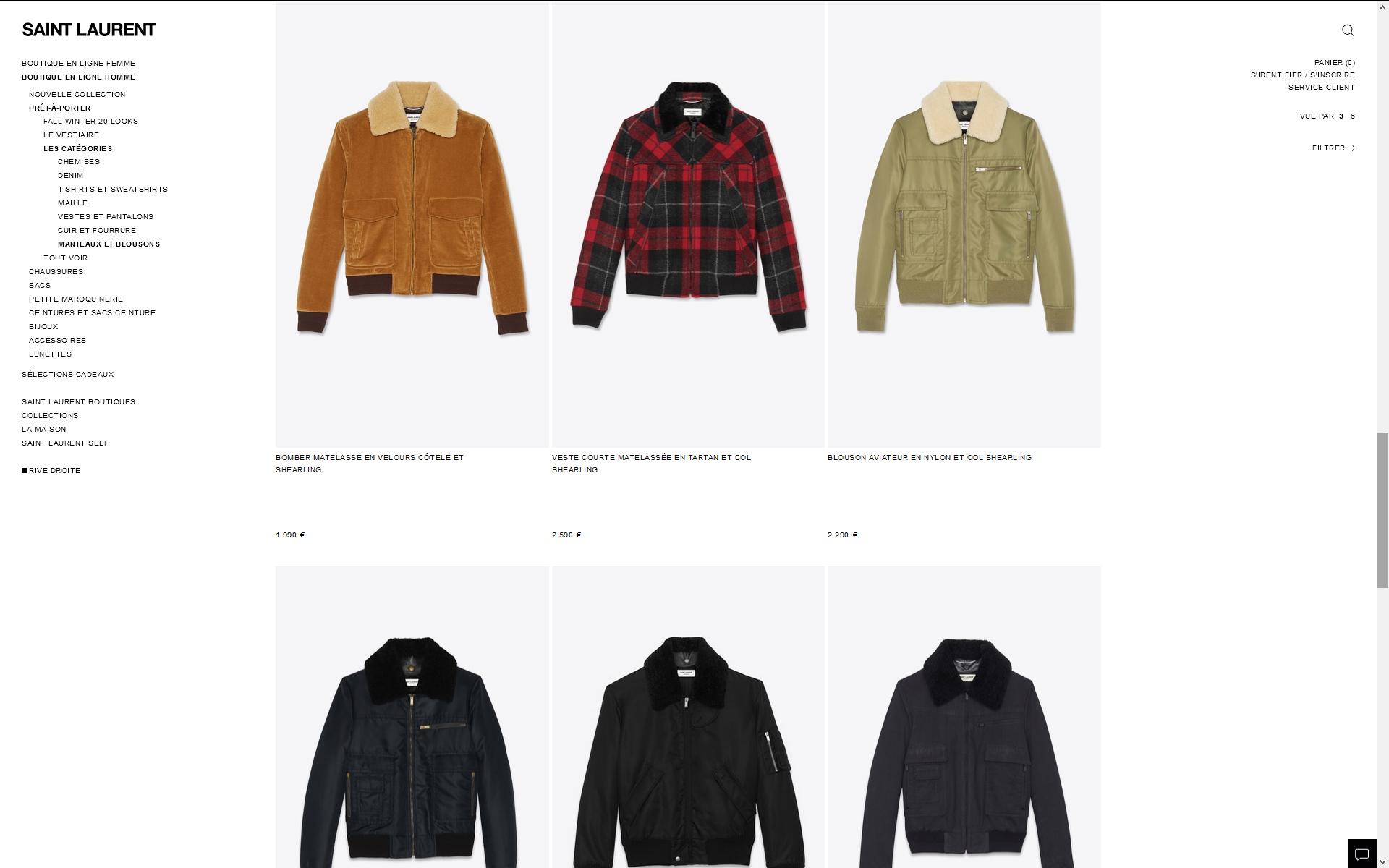 Retouche de la collection Hiver 19-20 pour le site Yves Saint Laurent (ysl.com)