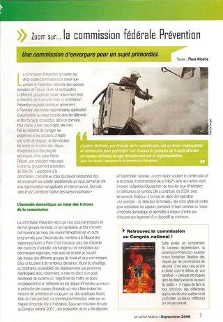 Article magazine Sapeurs-pompiers de France 2009