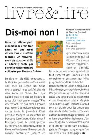 Recension dans la revue de l'Agence Rhone-Alpes pour le livre