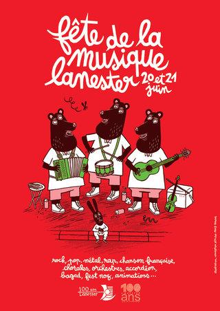 fête de la musique à Lanester - mise en page affiche, illustration, typographie