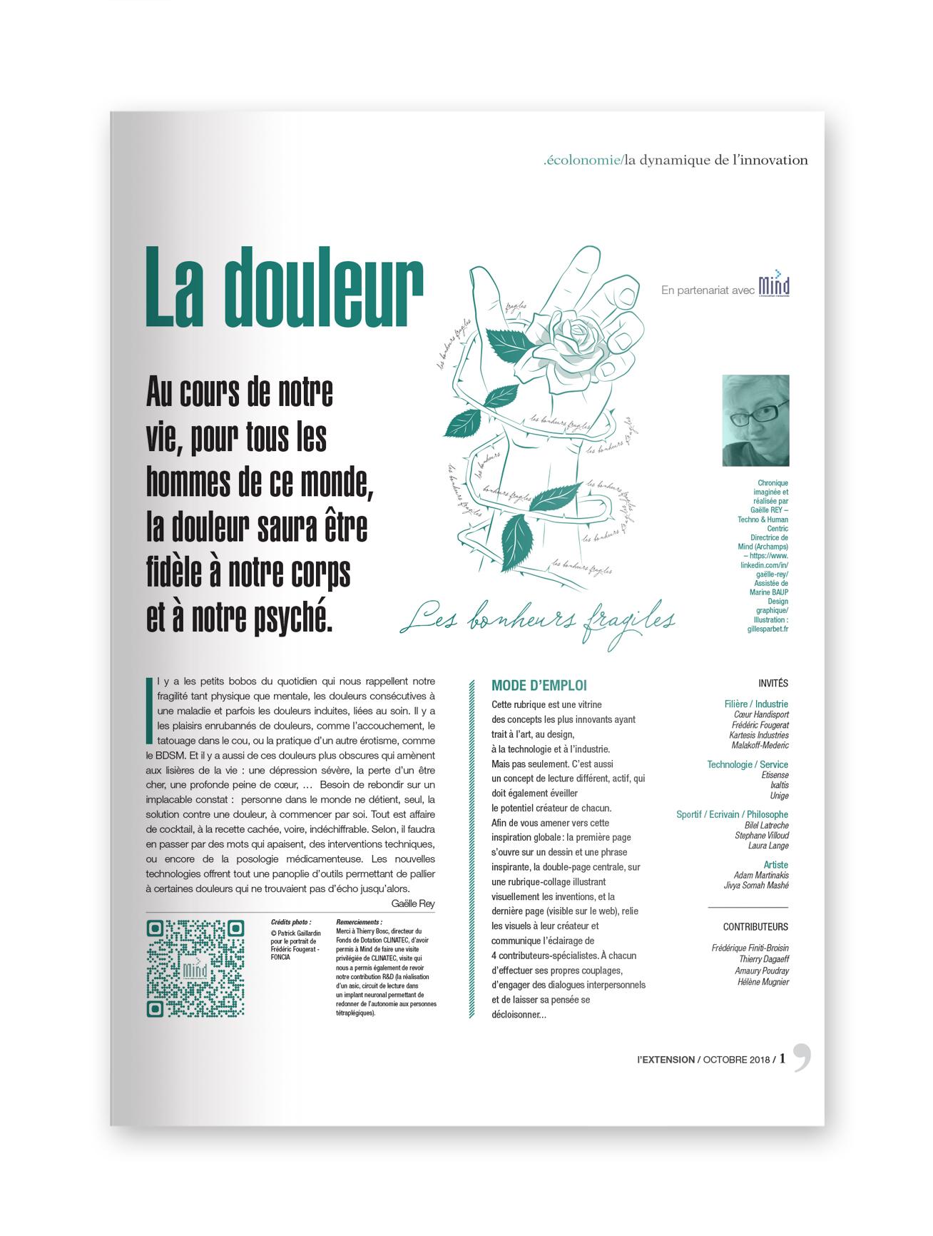 """FJ int.jpgFJ couvMIND - magazine L'EXTENSION - Thématique """"DOULEUR"""""""