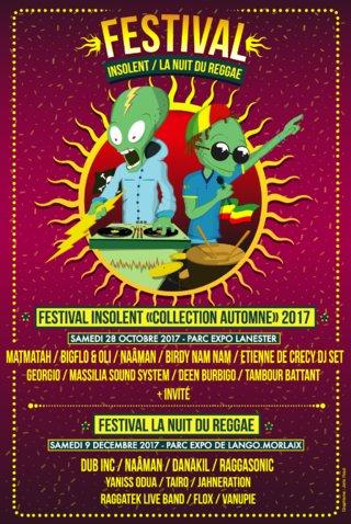 Création complète et illustration de l'affiche du festival insolent & la nuit du reggae
