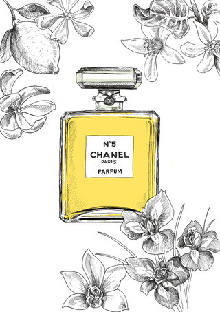Chanel n°5 illustration with flowers