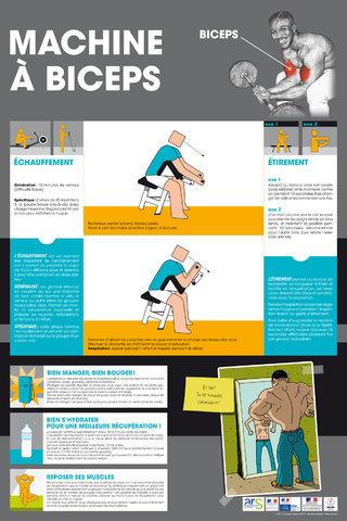 """Affiche """"Machine à biceps""""-Sport & santé-CDOS 76 & Centre Pénitentiaire de Rouen-2014"""