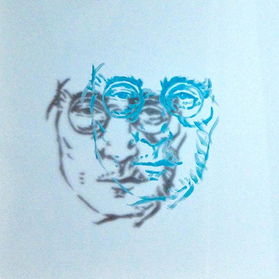 """""""Lennon"""", acrylique/verre, 30x32,5"""