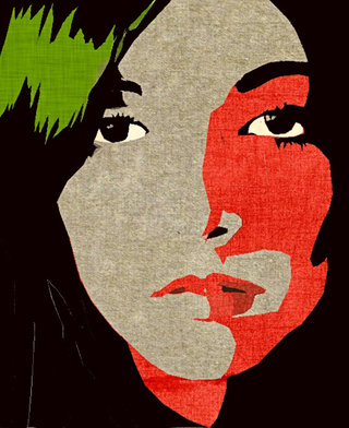 Girl's face_red and green